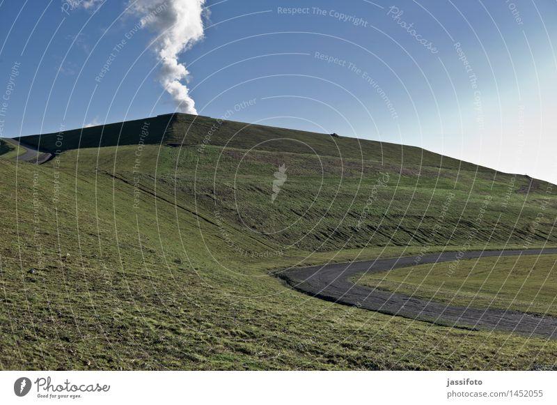 Rauch steigt auf blau grün Landschaft Berge u. Gebirge Wege & Pfade hoch Gipfel Hügel Ruhrgebiet Bergbau Nordrhein-Westfalen Industrielandschaft