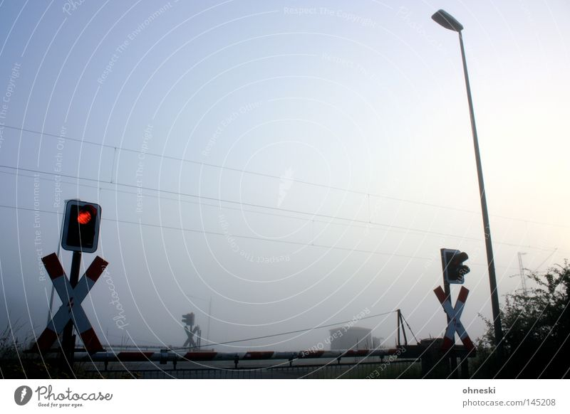 Früh geschlossen Bahnübergang Ampel Nebel Himmel Morgen Schranke Laterne Lampe Sträucher Andreaskreuz Frieden ruhig Sommer Oberleitung Eisenbahn