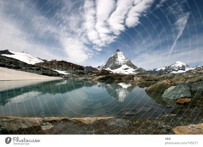 Berg See Berge u. Gebirge Natur Zermatt Matterhorn Gletscher Schweiz Alpen blau grün Wasser Himmel
