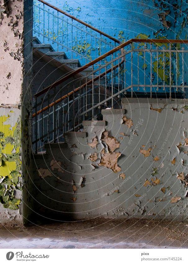 VermieterSache grün blau Wand oben Holz grau Farbstoff Mauer Architektur Treppe Ende Häusliches Leben Vergänglichkeit Gastronomie streichen verfallen