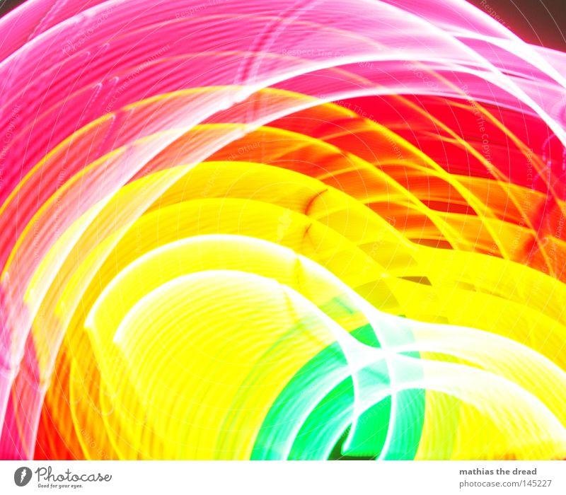 600 + 4 Farbe mehrfarbig grün gelb rot rosa Kreis Licht Geometrie Strukturen & Formen Am Rand Linie Punkt weiß hell unklar Unschärfe Verzerrung verzogen