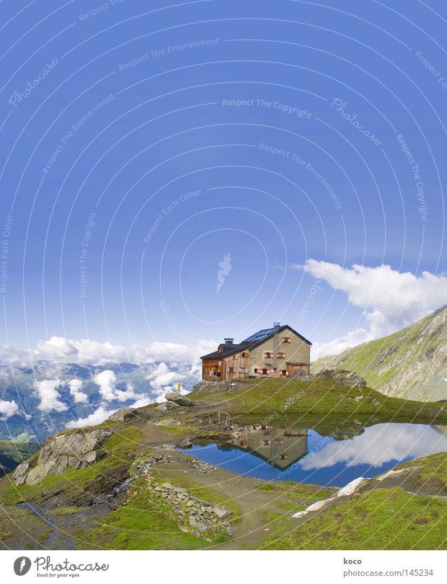 ziemlich hoch oben Haus Berghütte See Reflexion & Spiegelung Wolken Osttirol wandern Freizeit & Hobby Österreich Bergsteigen Sommer Europa Berge u. Gebirge