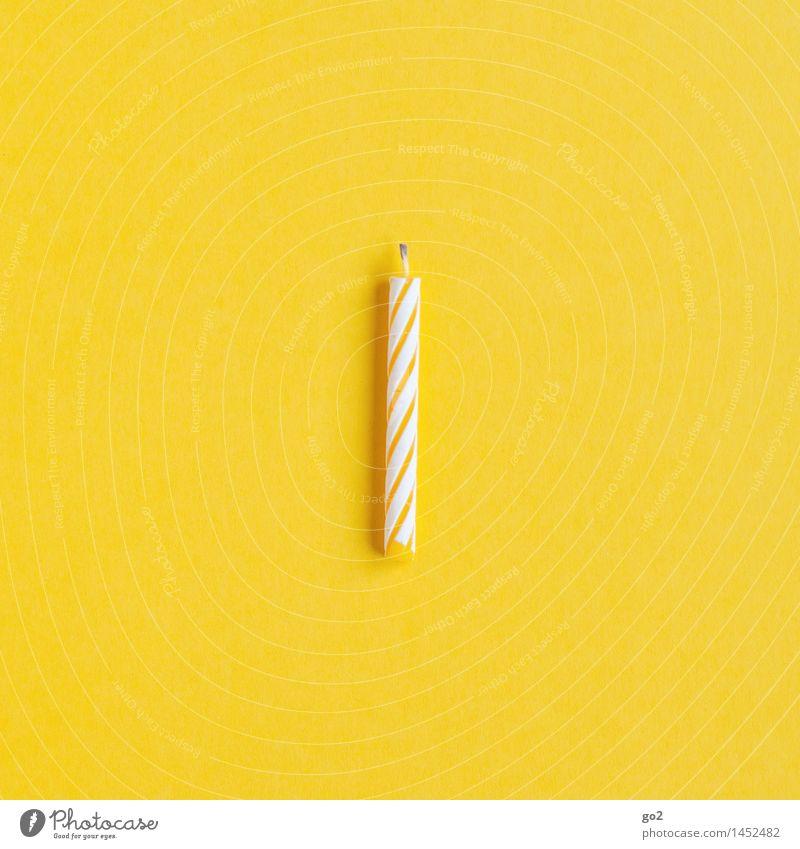 Kerze, gelb Feste & Feiern Geburtstag Dekoration & Verzierung ästhetisch einfach klein Freude Fröhlichkeit Vorfreude 1 Farbfoto Innenaufnahme Studioaufnahme