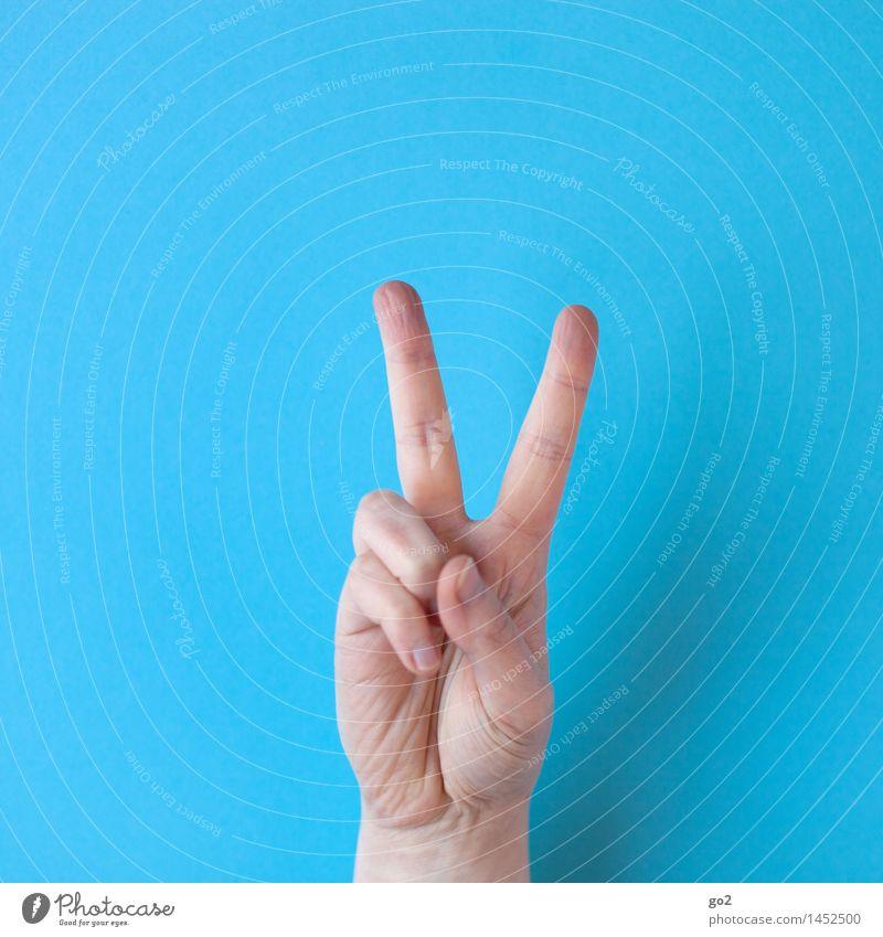V Mensch Erwachsene Hand Finger 1 Zeichen Kommunizieren Erfolg positiv Optimismus Kraft Toleranz Frieden gestikulieren Farbfoto Innenaufnahme Studioaufnahme