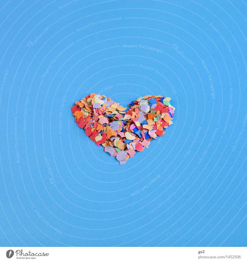 Konfettiherz blau Farbe Freude Liebe Glück Feste & Feiern Party Geburtstag Fröhlichkeit ästhetisch Herz Lebensfreude einfach Romantik Zeichen Hochzeit