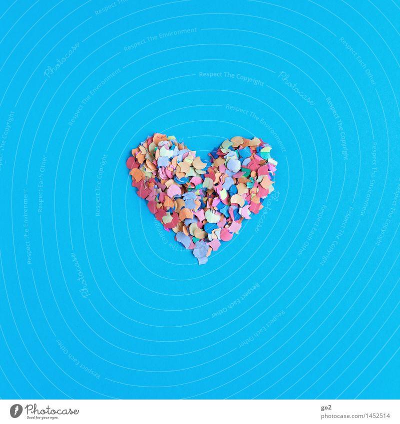 Konfettiherz blau Freude Liebe Glück Feste & Feiern Party Dekoration & Verzierung Geburtstag Fröhlichkeit ästhetisch Kreativität Herz Lebensfreude einfach Zeichen Veranstaltung