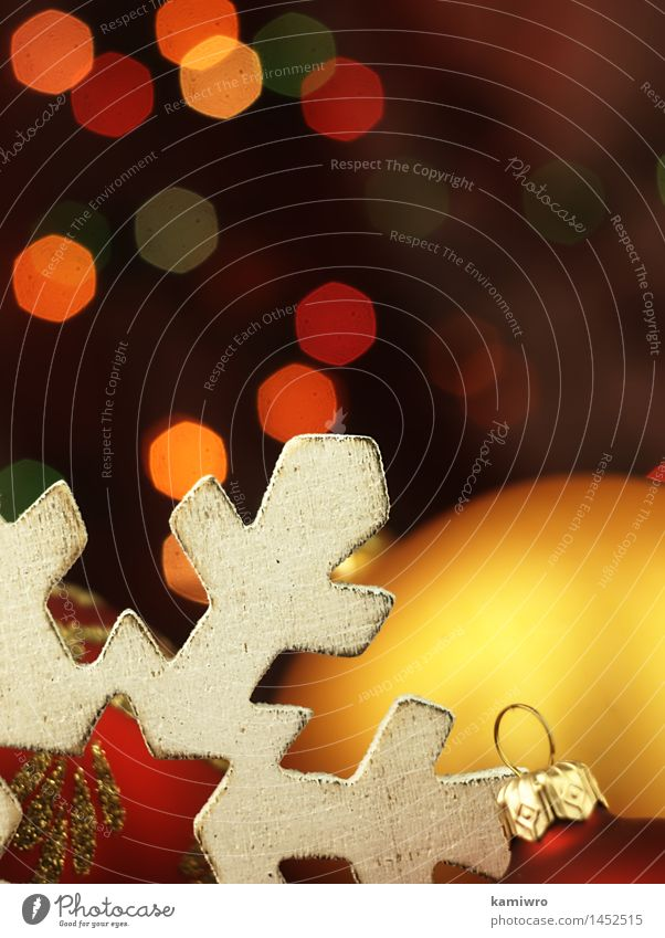 Große hölzerne Schneeflocke. Weihnachten & Advent grün schön Farbe rot Winter Glück Feste & Feiern hell Design glänzend Dekoration & Verzierung Fotografie