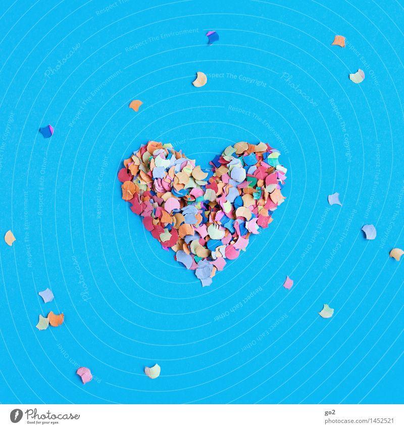 Konfettiherz blau Farbe Freude Liebe Gefühle Feste & Feiern Party Dekoration & Verzierung Geburtstag Fröhlichkeit ästhetisch Herz Lebensfreude Papier Romantik Zeichen