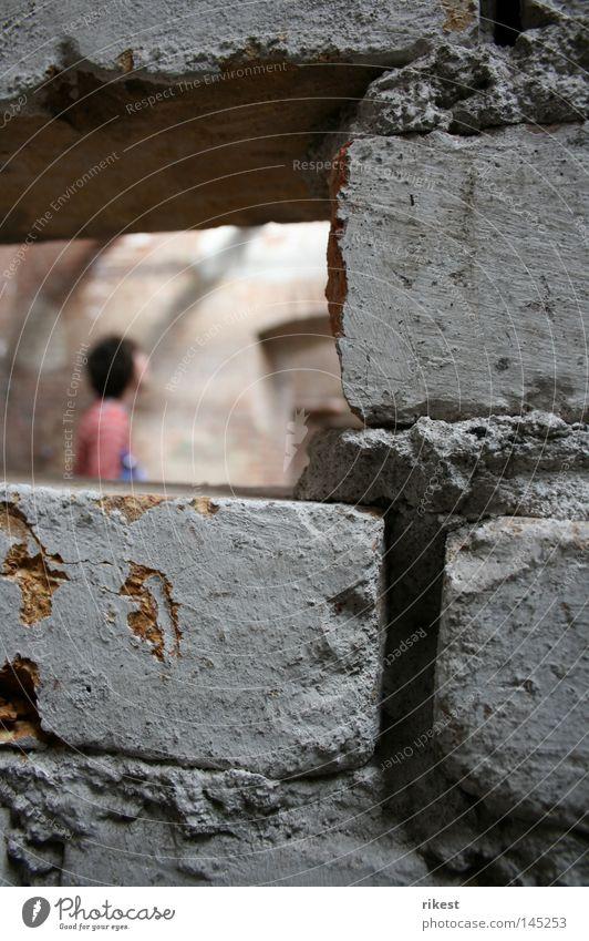 ruimte Mann Haus Fenster Stein Mauer Vertrauen verfallen Ruine