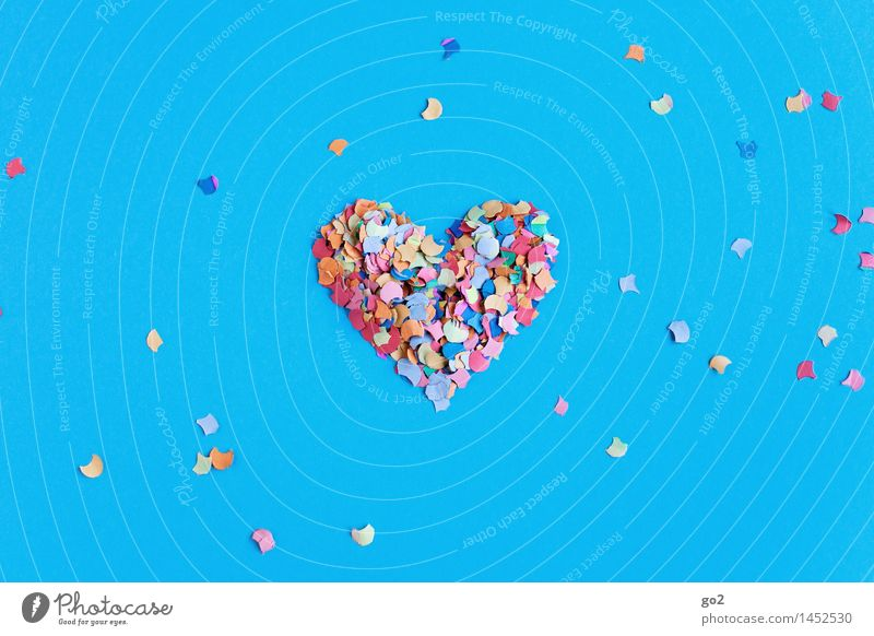 Konfettiherz blau Freude Liebe Gefühle Glück Feste & Feiern Party Dekoration & Verzierung Geburtstag Fröhlichkeit ästhetisch Herz Lebensfreude Romantik Zeichen