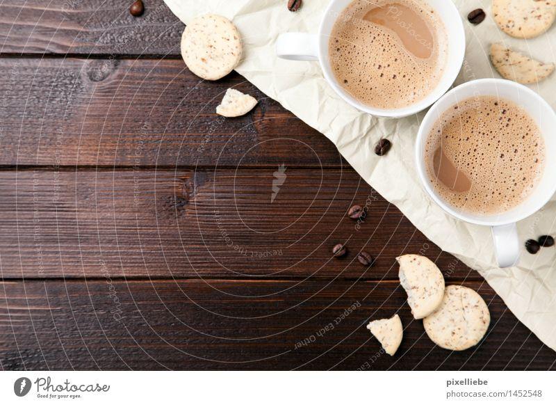 Kleine Kaffeepause Lebensmittel Teigwaren Backwaren Kaffeetrinken Getränk Heißgetränk Kakao Latte Macchiato Tasse Lifestyle Gesunde Ernährung Wellness