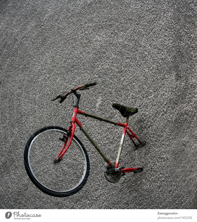 Die bessere Hälfte Wand grau trist Langeweile dreckig Fahrrad Fahrradlenker Fahrradsattel Rad Reifen Speichen Pedal rot grün schwarz hängend schrauben