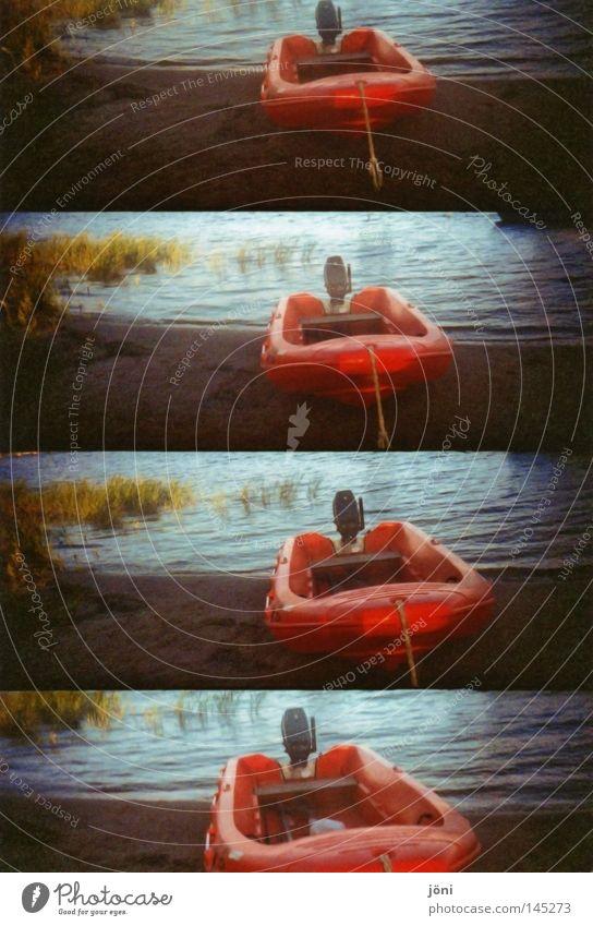 Rotboot Natur alt blau Wasser grün schön Ferien & Urlaub & Reisen rot Pflanze Meer Strand Freude Farbe Einsamkeit ruhig Ferne