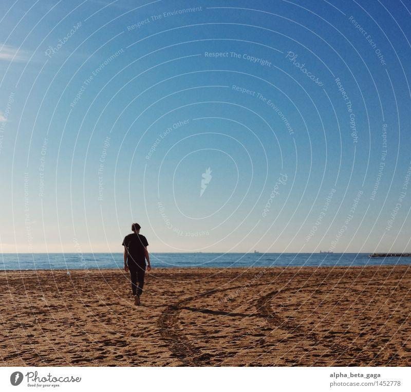 * harmonisch Zufriedenheit Ferne Freiheit Sonne Strand Meer Städtereise Strandurlaub maskulin Junger Mann Jugendliche Erwachsene 1 Mensch Himmel Horizont