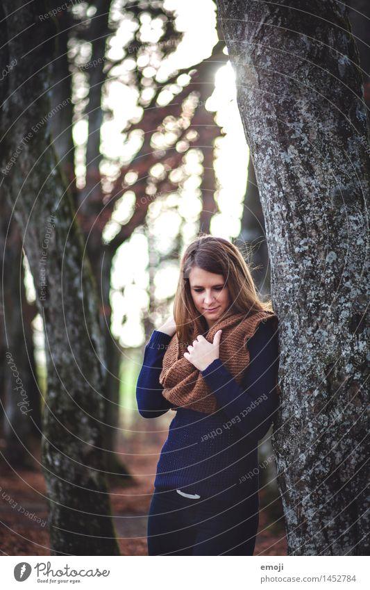 sunlight feminin Junge Frau Jugendliche 1 Mensch 18-30 Jahre Erwachsene Herbst Wald schön natürlich Farbfoto Außenaufnahme Tag Sonnenlicht Sonnenstrahlen