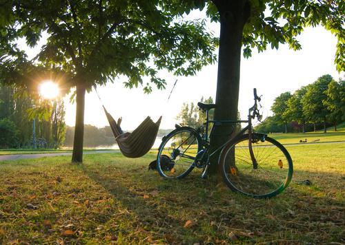 Feierabend Hängematte Sonne Sonnenstrahlen Fahrrad Abend frei Freiheit Freizeit & Hobby Ferien & Urlaub & Reisen Erholung Stress Licht Wiese Baum Pause Freude