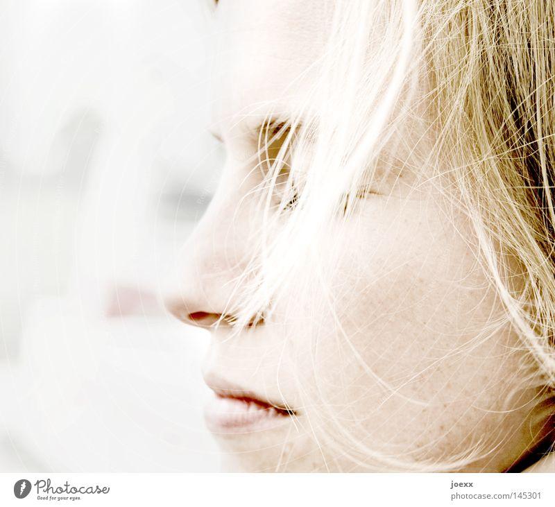 Wesentlich Frau Jugendliche schön Gesicht Haare & Frisuren Traurigkeit Denken hell Wind blond Mund Haut Nase Trauer geheimnisvoll Konzentration