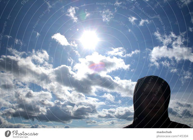 wir wollen nach sommer Mensch Mann Natur schön Himmel Sonne Sommer Gesicht schwarz Wolken Ferne Erholung Kopf Wärme hell Wetter
