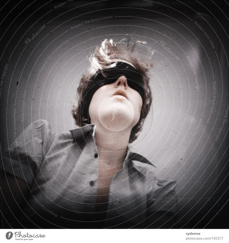 Analog//Digital IV Frau Mensch schwarz dunkel Gefühle Kopf Haare & Frisuren hell Kraft Zeit planen Wunsch geheimnisvoll analog Mut Gesichtsausdruck