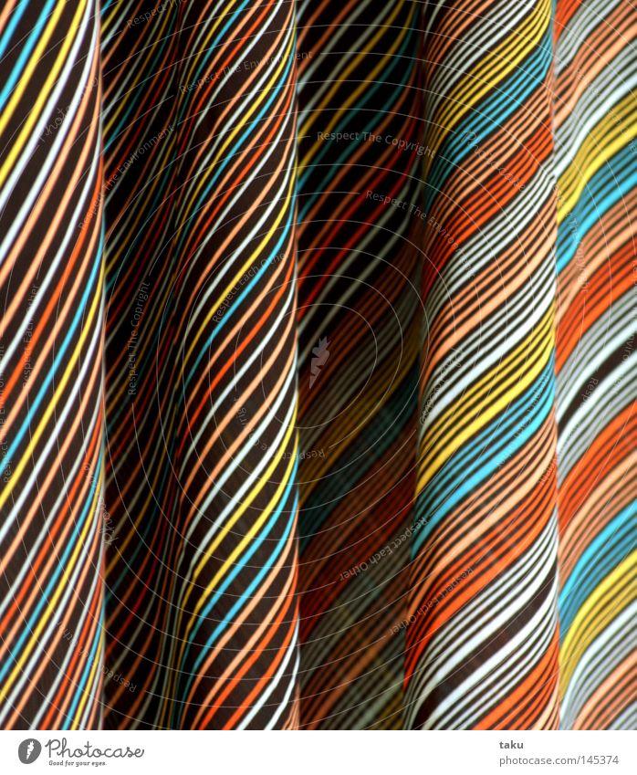 DRESS ONE blau gelb braun orange Bekleidung Kleid Streifen Falte hängen gestreift Bildausschnitt Schlaufe Borte Kleiderbügel