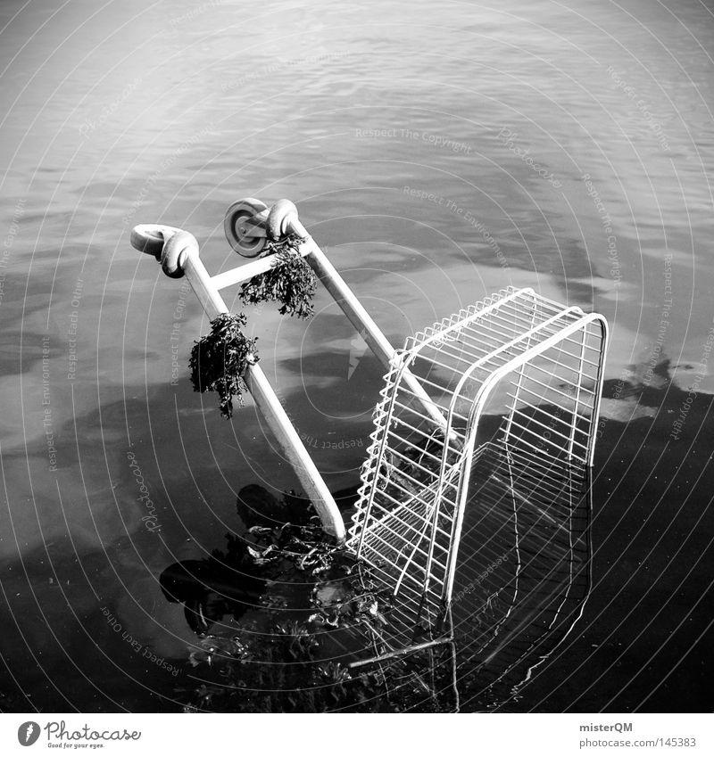 Die erschreckende Dunkelziffer des Speedshopping. Wasser weiß Meer schwarz Herbst grau Traurigkeit Stimmung Metall See Markt kaufen trist Industrie Trauer Fluss