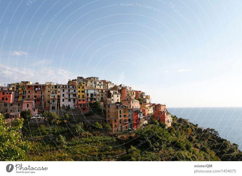 Cinque Terre Kunst Kunstwerk ästhetisch Italien Toskana Fassade Fassadenverkleidung Fassadenbegrünung Urlaubsfoto Sommer Sommerurlaub Kleinstadt Fischerdorf