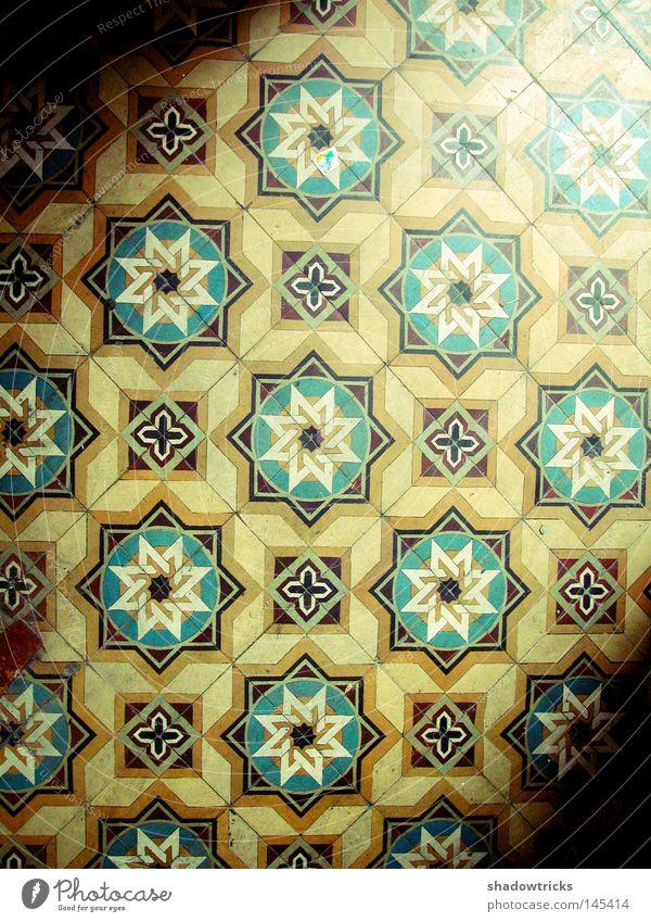 Altbauästhetik Bodenbelag Kaleidoskop Astronomie Milchstrasse Licht Lichteinfall Haus Untergrund Hintergrundbild veraltet früher Flur Sonne Mond Stern (Symbol)
