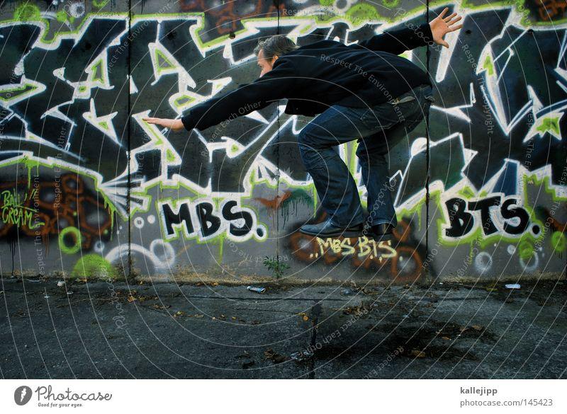 mfg springen Mann Kultur Schweben Schwerelosigkeit Astronaut positiv Surfer Graffiti Wandmalereien Mensch scene Gesellschaft (Soziologie) aufwärts Weltall