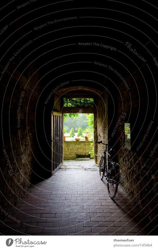 Tunnelblick mit Rad Fahrrad alt Burg oder Schloss Perspektive Ausgang Hof Garten Schlossgarten Mauer blockieren Tor Tür Aussicht Ausdauer langhaarig Hoffnung