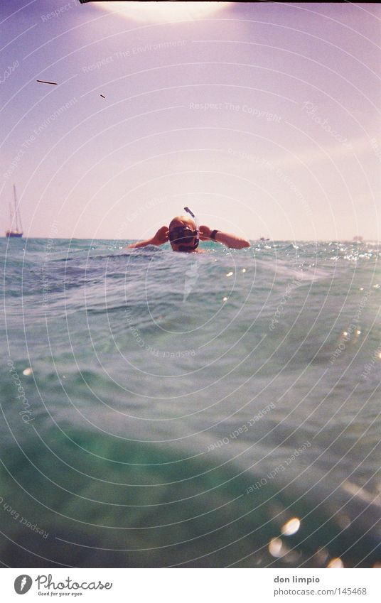 im freibad Atlantik Meer Wasser Mensch Taucher Wellen Wasserfahrzeug Himmel nass Tauchgerät Taucherbrille Licht Schwimmen & Baden tauchen Horizont Gegenlicht