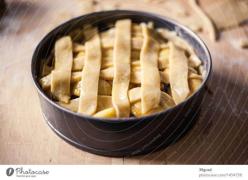gedeckter Apfelkuchen Essen Lebensmittel Frucht Ernährung Tisch Kochen & Garen & Backen süß Küche lecker Süßwaren Bioprodukte Getreide Duft Kuchen Dessert