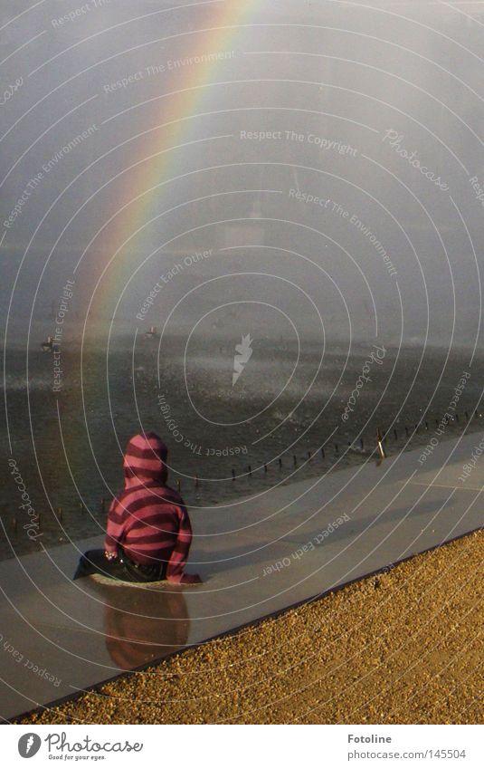 Der Schatz am Fuß des Regenbogens Farbfoto Außenaufnahme Textfreiraum oben Tag Licht Erde Sand Wasser Wassertropfen Nebel Wege & Pfade Tropfen blau gelb grün