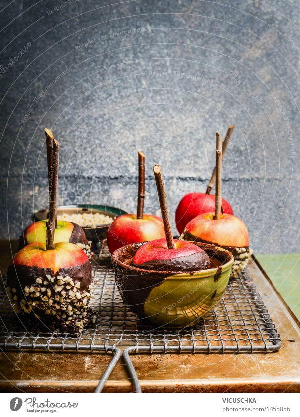 Äpfel mit geschmolzener Schokolade und Mandel Weihnachten & Advent Gesunde Ernährung Stil Hintergrundbild Feste & Feiern Lebensmittel Party Design Frucht Tisch