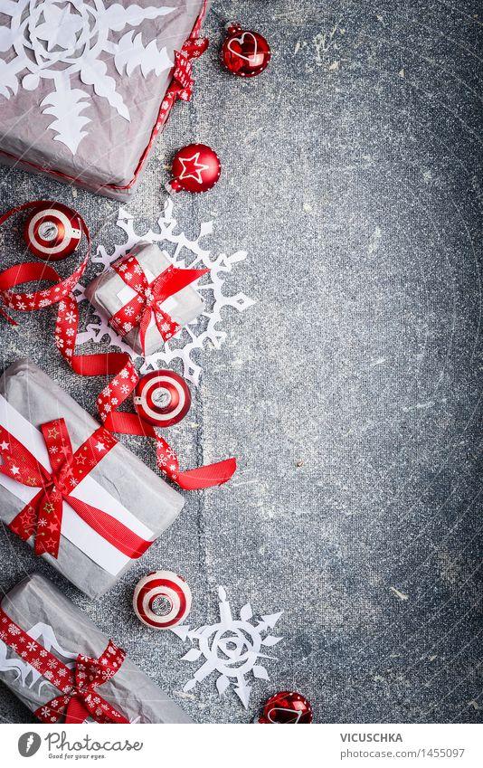 Weihnachten , Hintergrund mit Geschenke und Dekorationen Weihnachten & Advent rot Freude Winter Innenarchitektur Hintergrundbild Lifestyle Stil Feste & Feiern
