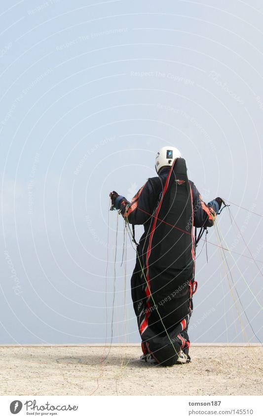 puppenspieler Sport springen Berge u. Gebirge Nebel Beginn verrückt Gleitschirmfliegen Extremsport Drachenfliegen