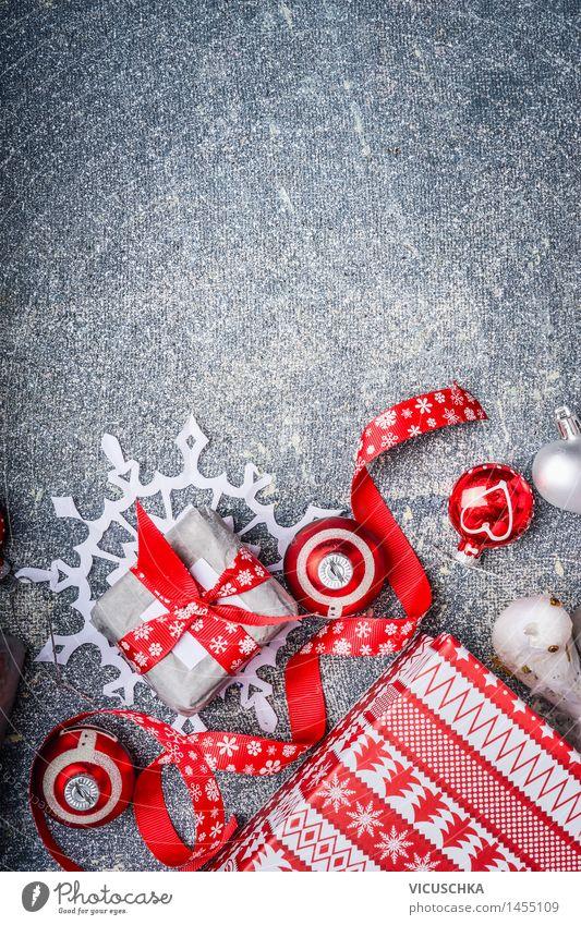Weihnachtshintergrund mit Geschenke und rote Dekorationen Weihnachten & Advent Freude Stil Hintergrundbild Feste & Feiern Wohnung Design Dekoration & Verzierung