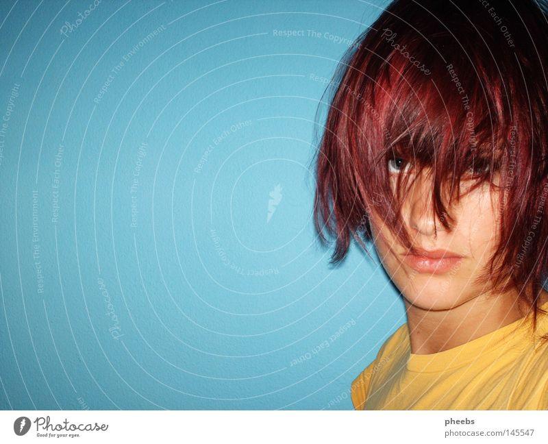 purplehead Frau Jugendliche blau Gesicht gelb Haare & Frisuren Kopf Mund Nase violett Porträt Hals