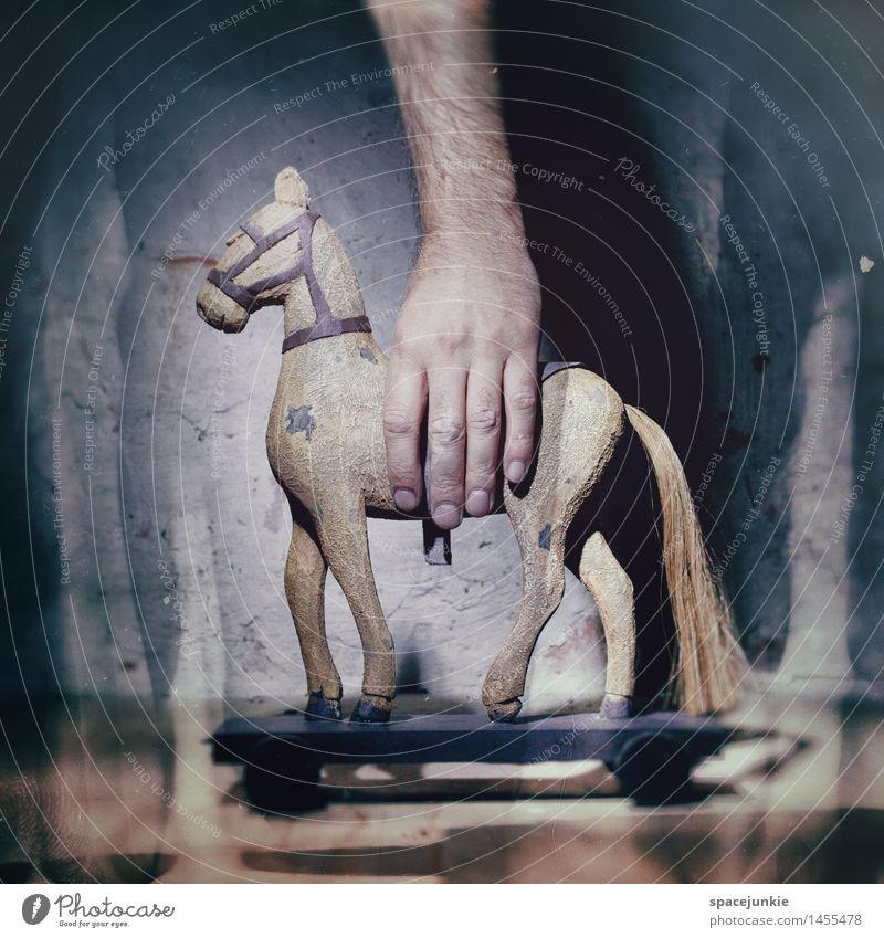Trojaner blau Hand Tier dunkel Wand Bewegung Mauer Kunst Stein braun Fassade Computer Neugier Pferd Internet entdecken
