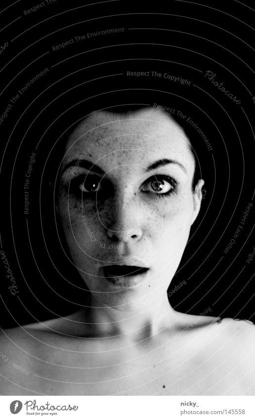 nickyTouch/ PHOTOKINA NEUHEIT/iPhone4 G Frau weiß Gesicht schwarz Auge Mund Nase verrückt neu berühren Porträt erstaunt Messe Photokina