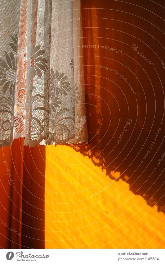 Omas Vorhänge Farbe Raum orange Hintergrundbild Vergänglichkeit Stoff Wohnzimmer Vorhang