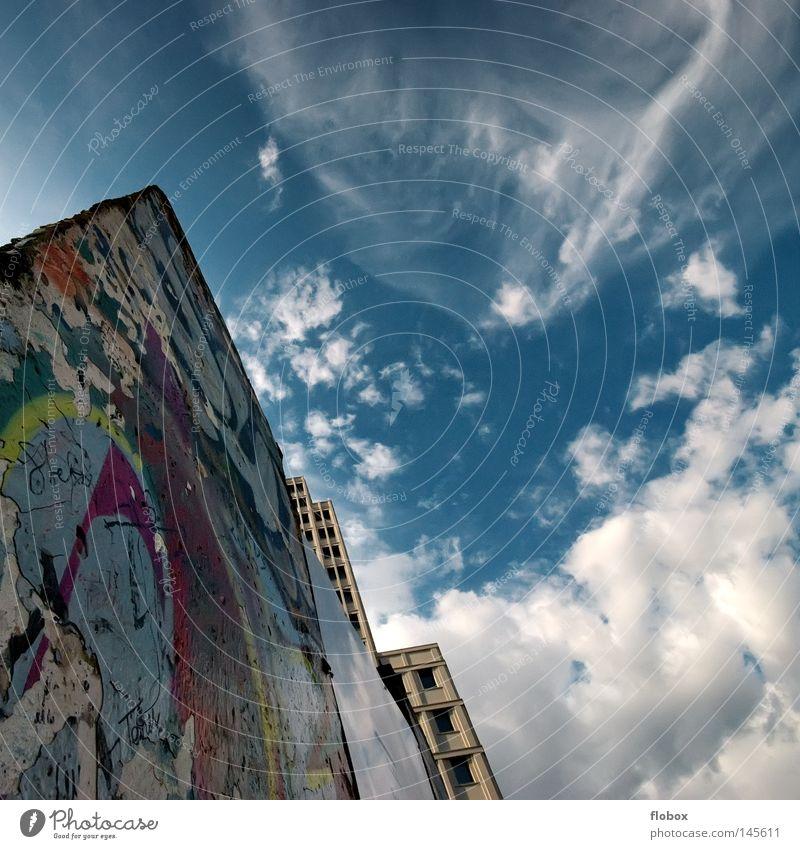 It is Berlin, again. Himmel Stadt blau Ferien & Urlaub & Reisen Haus Wolken Mauer Kunst Deutschland Hochhaus Ausflug Tourismus Grenze Denkmal