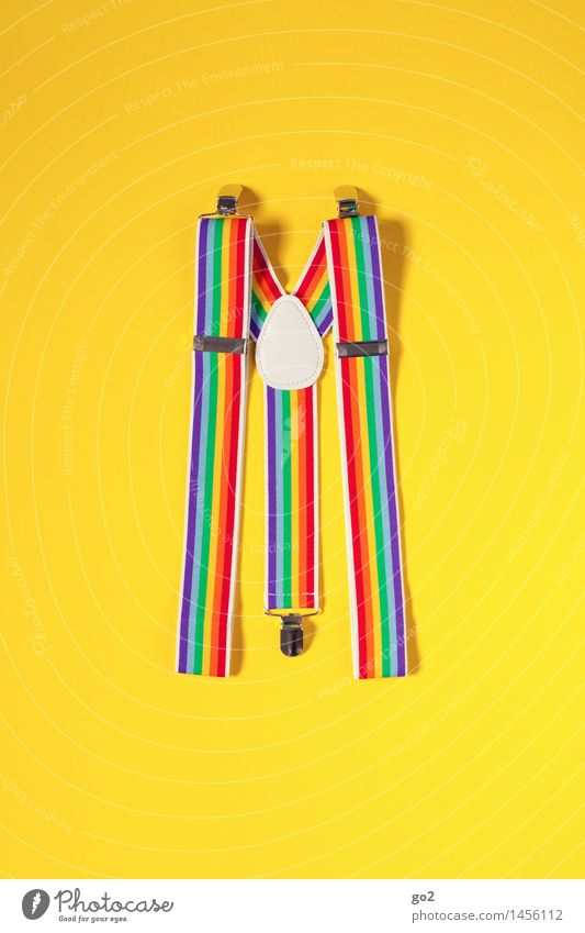 Hosenträger Freude Karneval Mode Bekleidung Accessoire ästhetisch Fröhlichkeit einzigartig lustig mehrfarbig gelb Vorfreude Farbe Lebensfreude regenbogenfarben