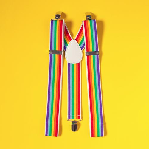 Hosenträger Modell Regenbogen Farbe Freude gelb lustig Feste & Feiern außergewöhnlich Party Freizeit & Hobby Fröhlichkeit ästhetisch Bekleidung einzigartig