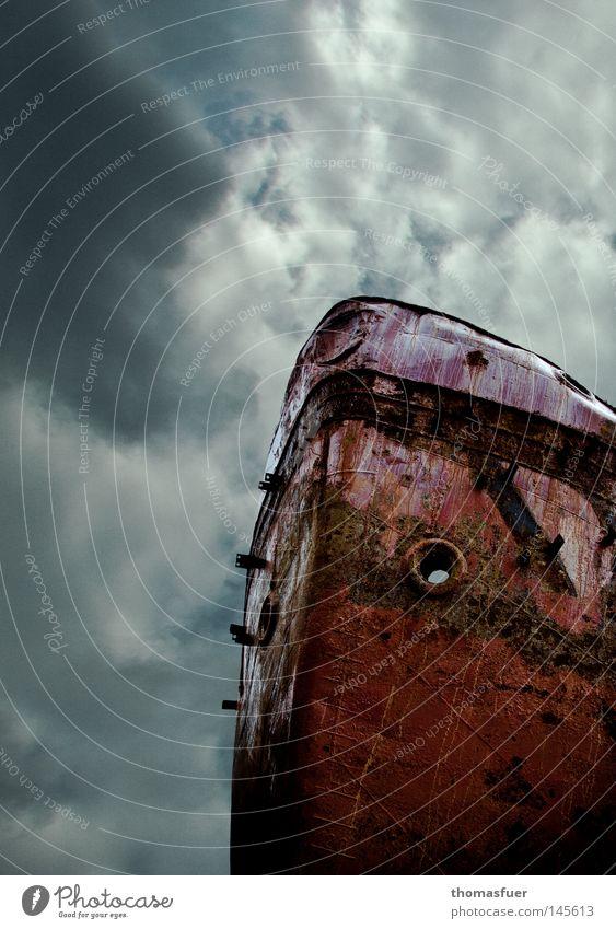 Das Totenschiff alt Himmel Wolken Farbe Wasserfahrzeug Hoffnung Trauer USA Geldinstitut Vergänglichkeit Sturm Müdigkeit Rost Gewitter Verzweiflung Schifffahrt