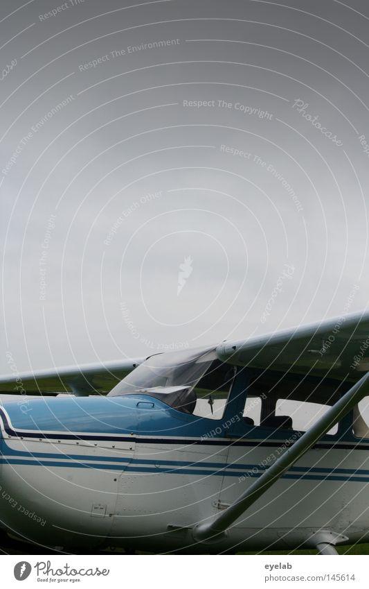 Fliegzeug Flugzeug grau Herbst weiß Maschine Tragfläche Flugplatz Fluggerät Luft Beginn Sportflugzeug Industrie Freizeit & Hobby Himmel blau blau-weiß