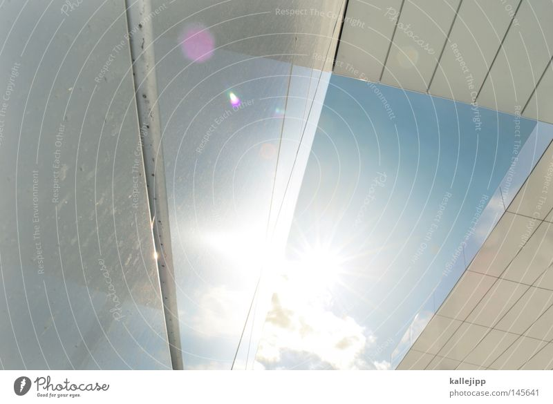V Dach modern UFO Raumfahrzeuge Space Shuttle Sonne Stern Licht Gegenlicht Blitzlichtaufnahme Laser Reflexion & Spiegelung Buchstaben Messe Himmel Wolken