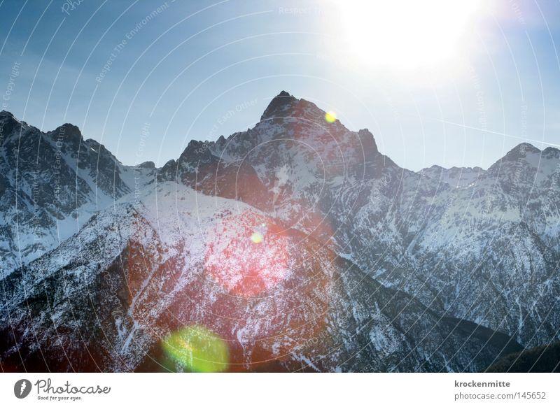grüne Linse Natur Winter Schnee Berge u. Gebirge Stein Beleuchtung Spitze Schweiz Top Höhe Skigebiet Bergkette Blendenfleck massiv alpin Kamm
