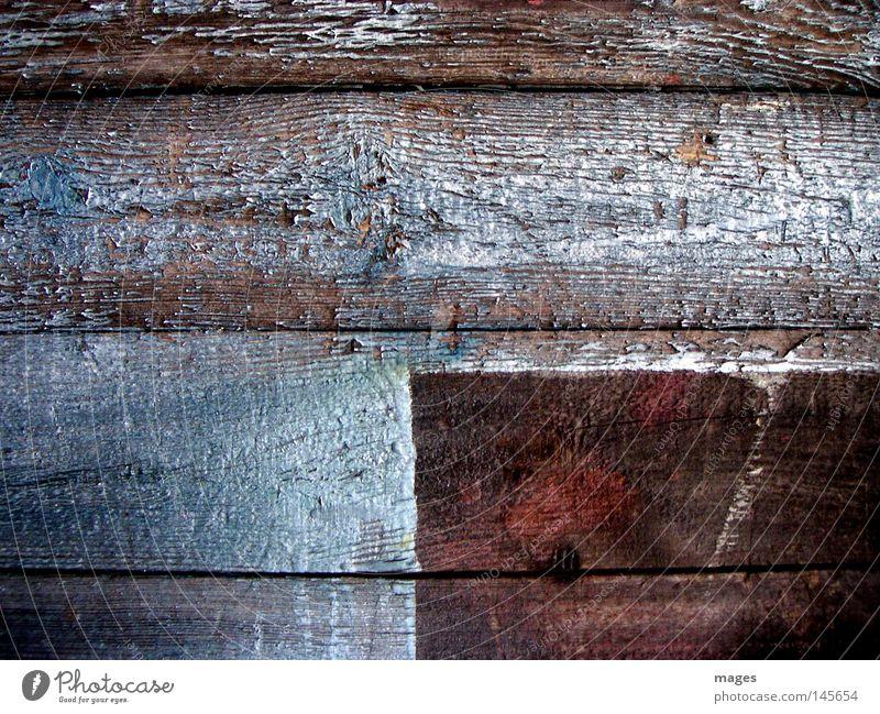 Platzhalter Holzbrett Wand Tür Farbe Farbstoff Farben und Lacke Überzug blau rot verwittert Verfall Maserung Holzstruktur leer quer verfallen Makroaufnahme