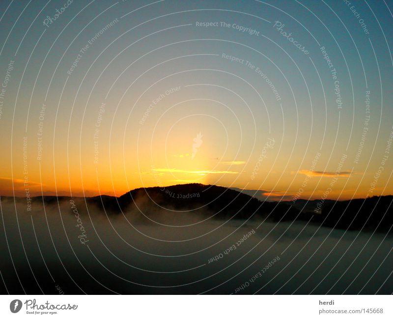 Sunset Elbsandsteingebirge Bergsteigen Freeclimbing Berge u. Gebirge Nebel Sonnenuntergang Licht Himmel Erde Sommer Himmelskörper & Weltall Climbing