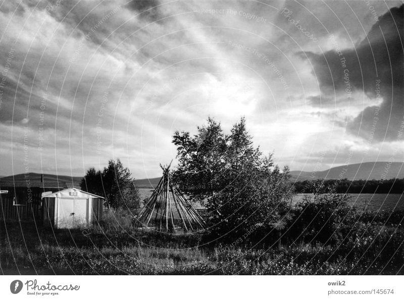 Ropinsalmi, Lappland Himmel Natur Wasser Landschaft Wolken Ferne Umwelt natürlich Gebäude Holz hell Horizont leuchten Idylle Klima Schönes Wetter